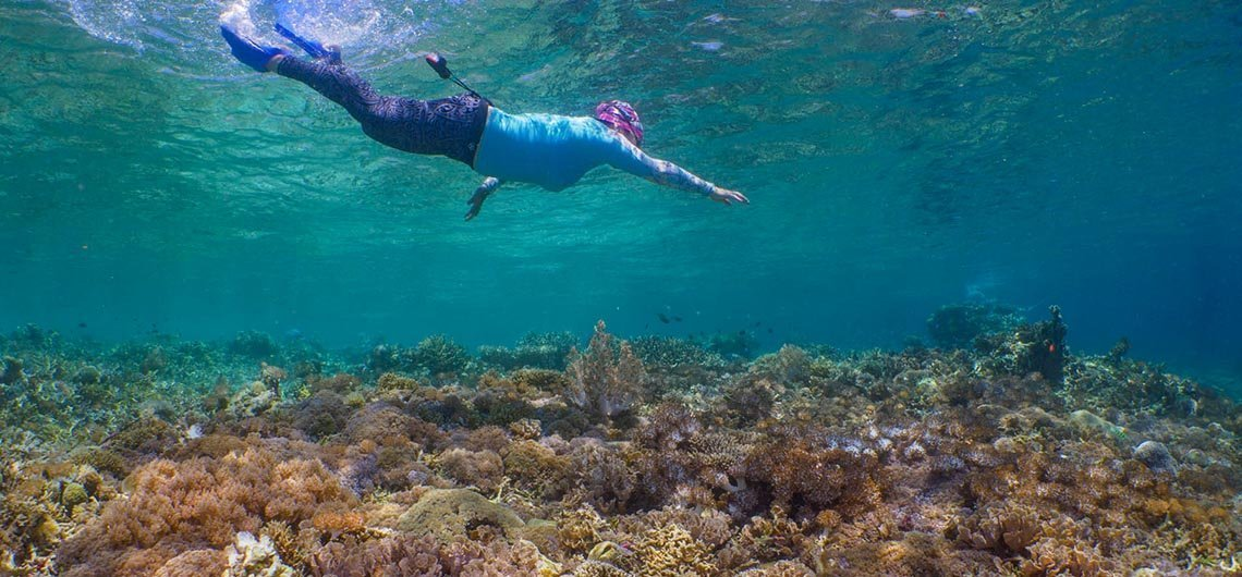 snorkeler diving down to reef