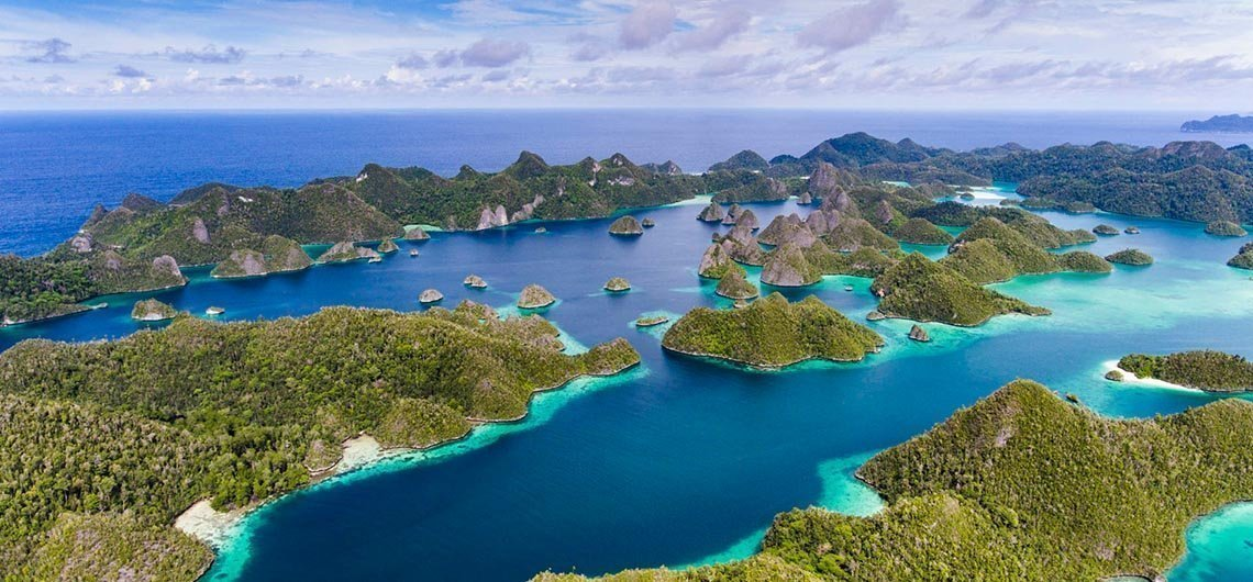 Aerial view of islands and reef in Raja Ampat