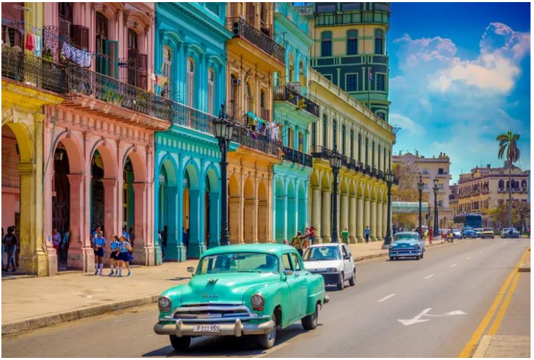 Street view of Havana with colorful buildings