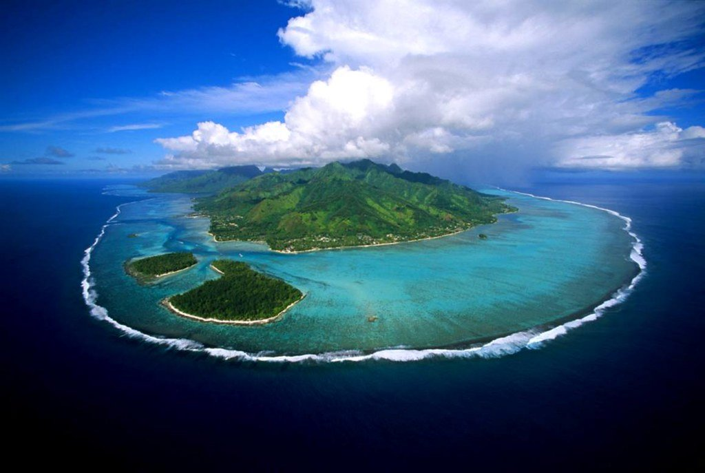 Island and reef in french polynesia
