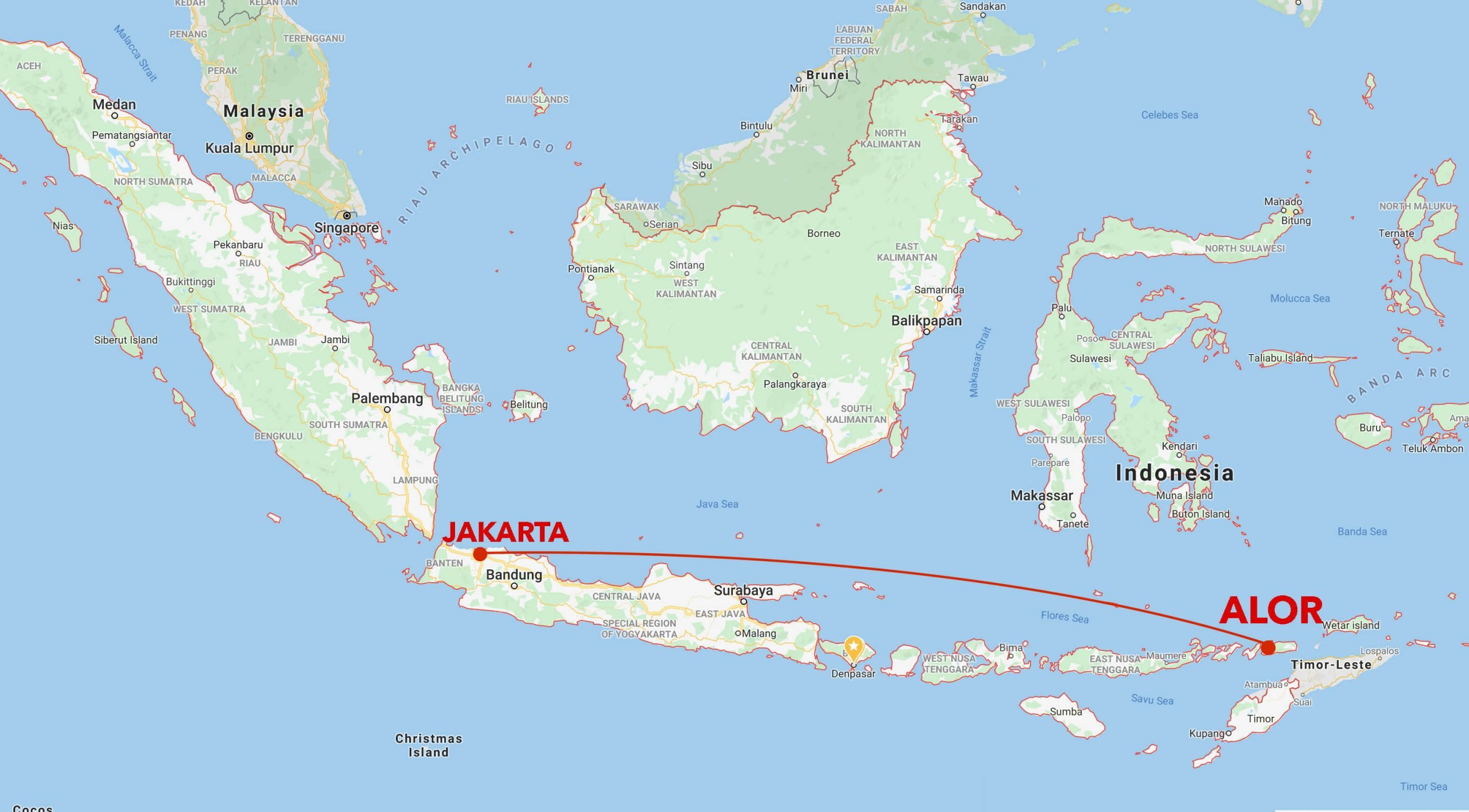 Alor snorkel safari itinerary map
