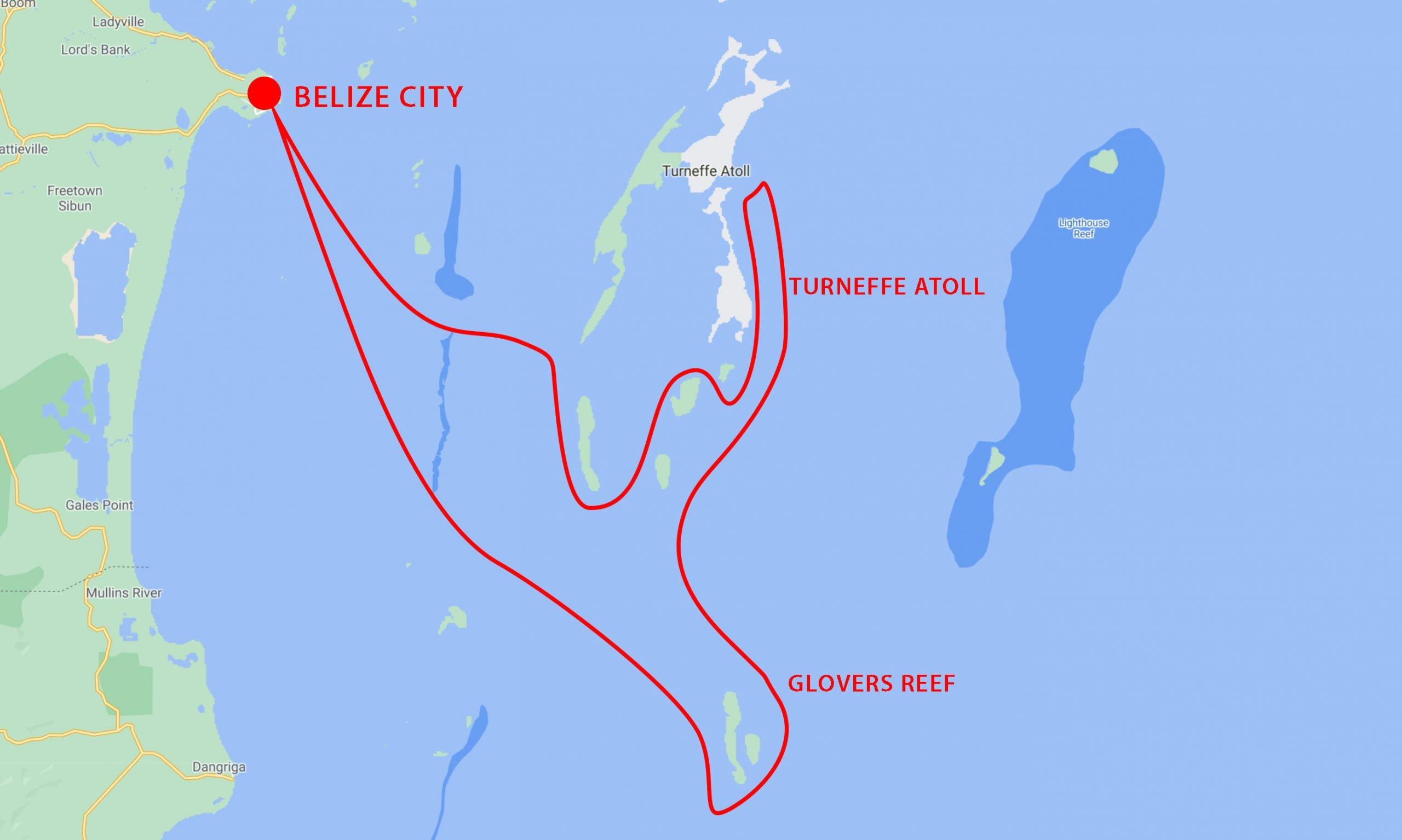 Belize Snorkel Safari Map