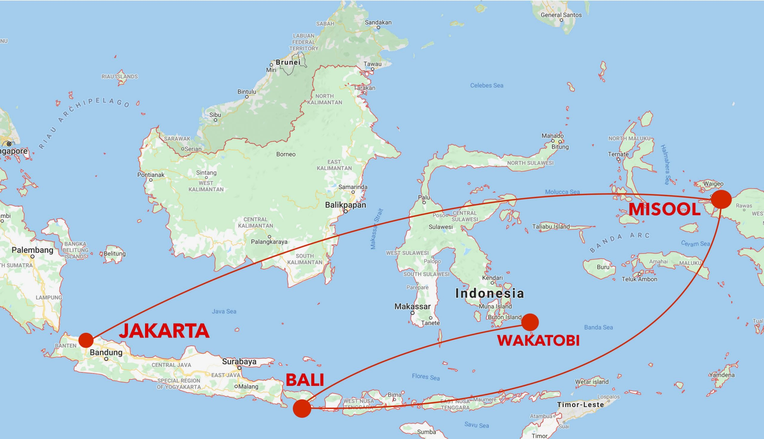Misool to Wakatobi snorkel safari map
