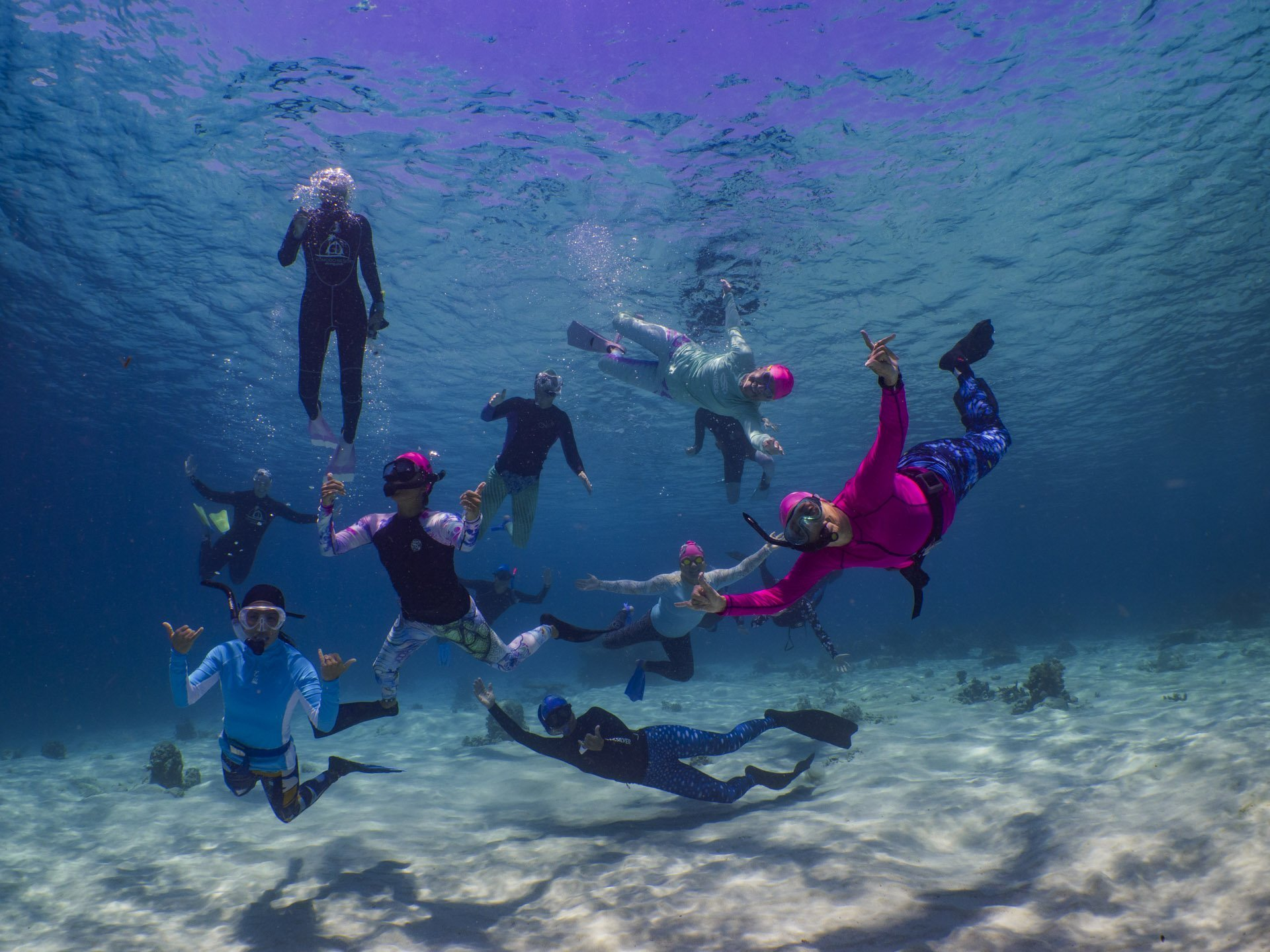 Group of snorkelers in Komodo