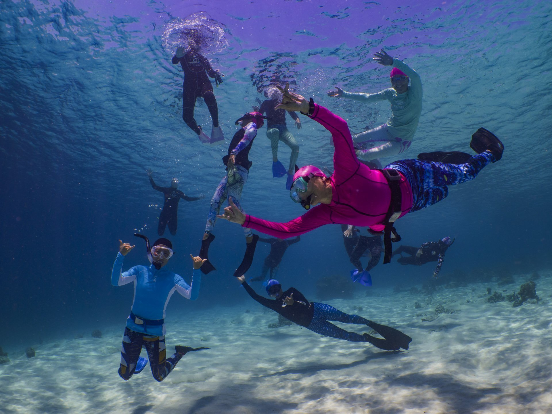 Happy snorkeling guests in Komodo