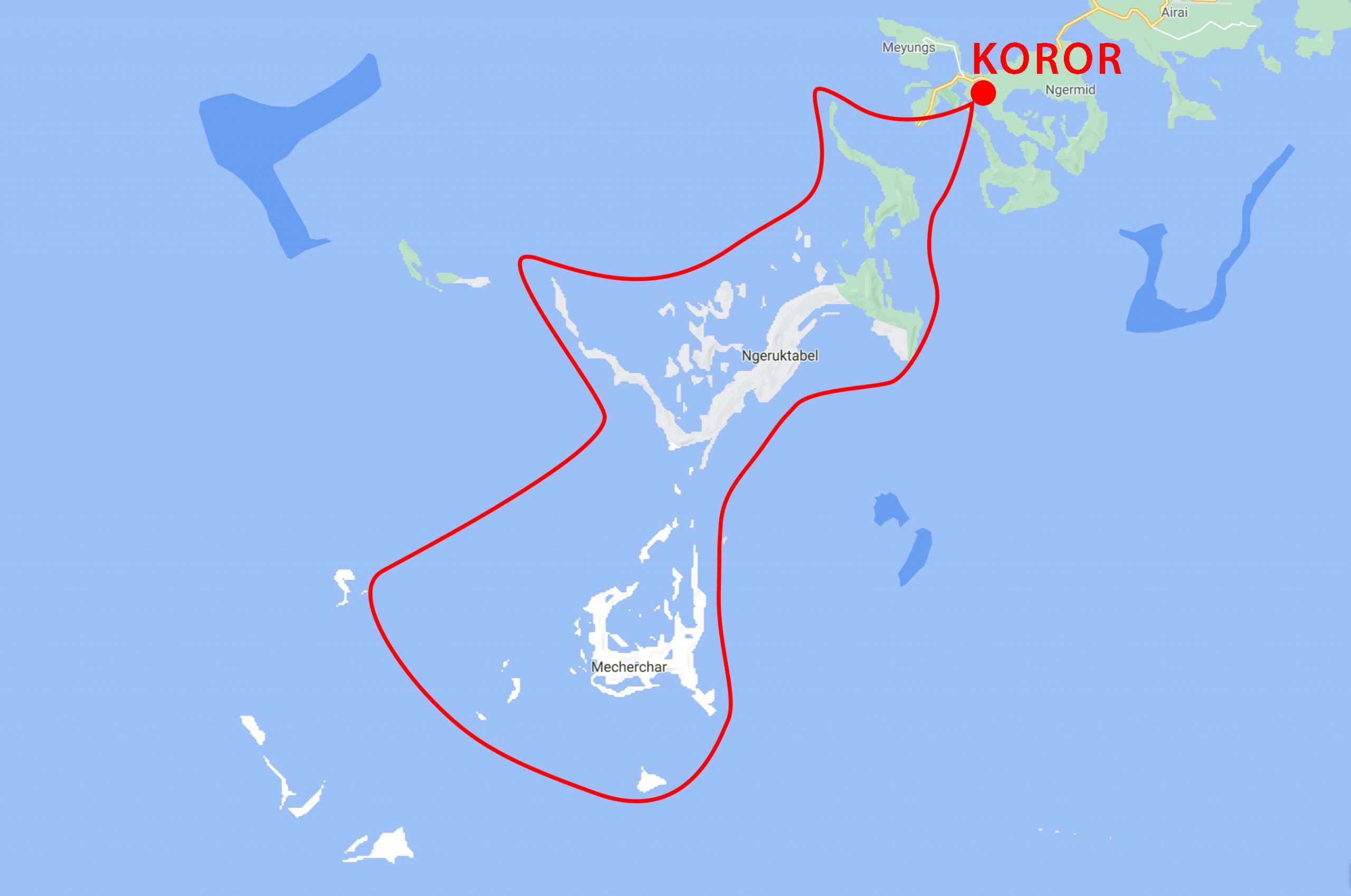 Palau Snorkel Safari Map