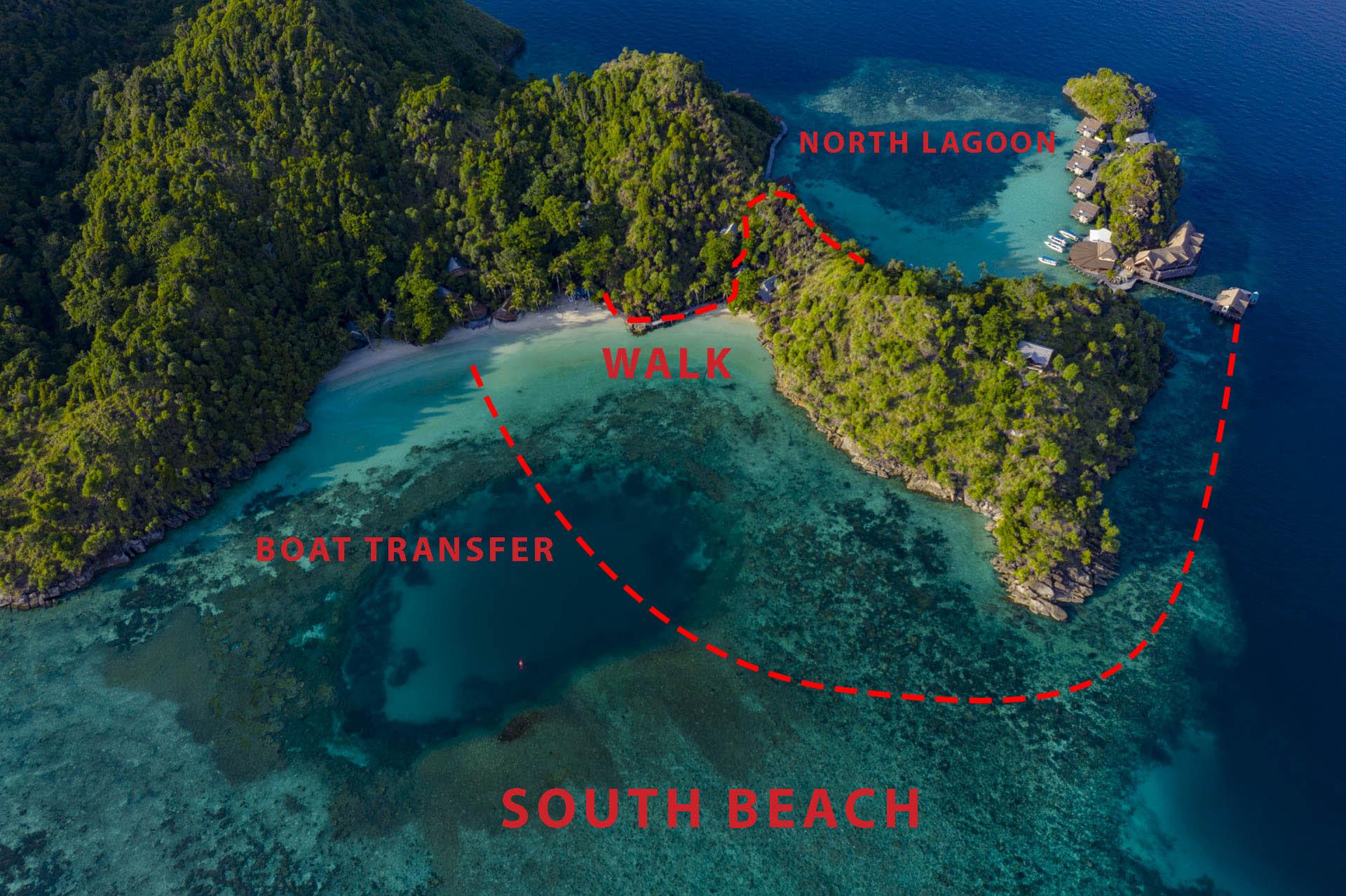 Map of Misool resort's south beach