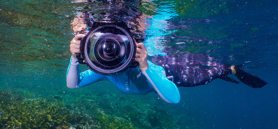 snorkeler with a big camera on the surfae