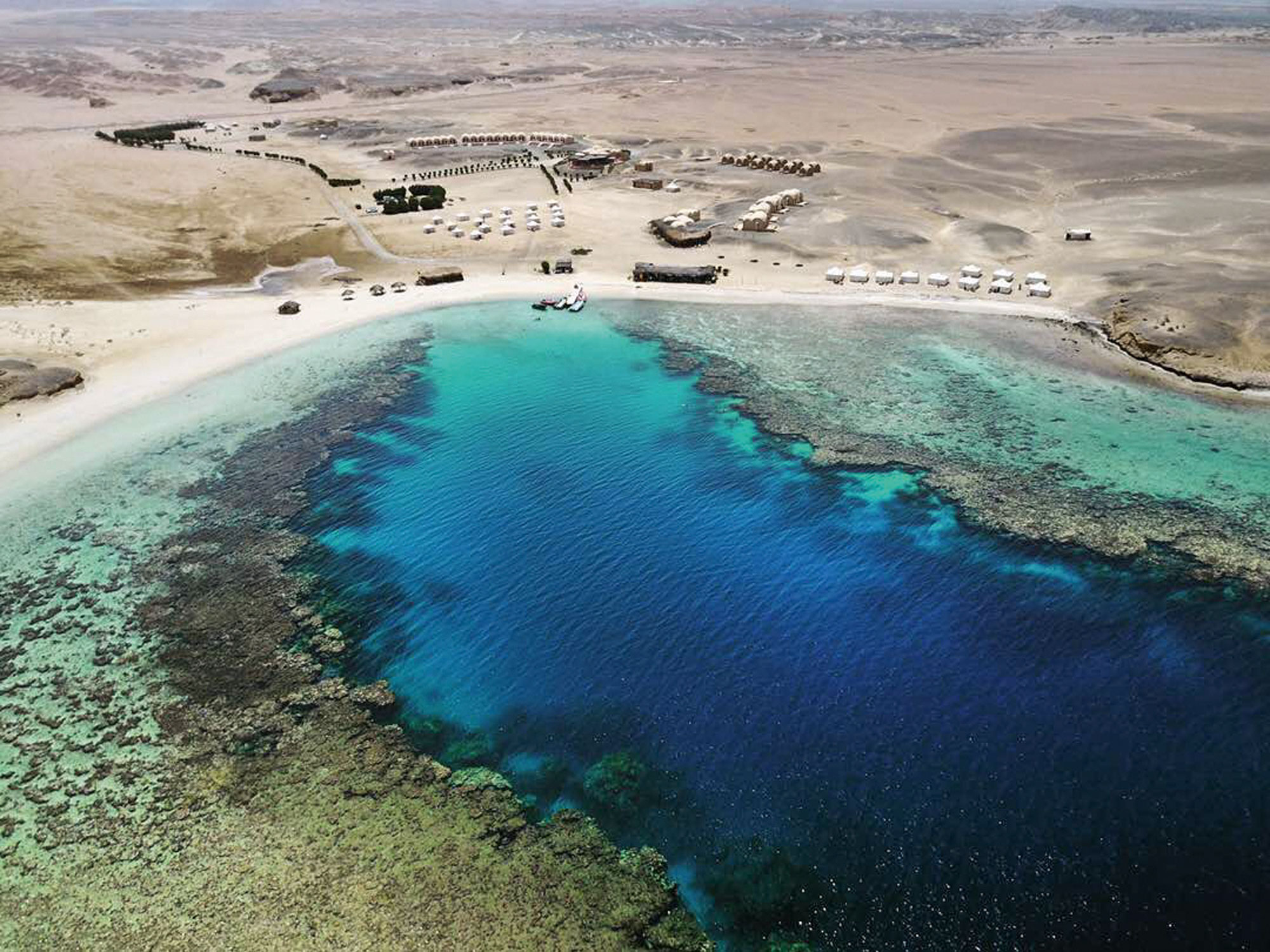 aerial view of marsa shagra resort and house reef