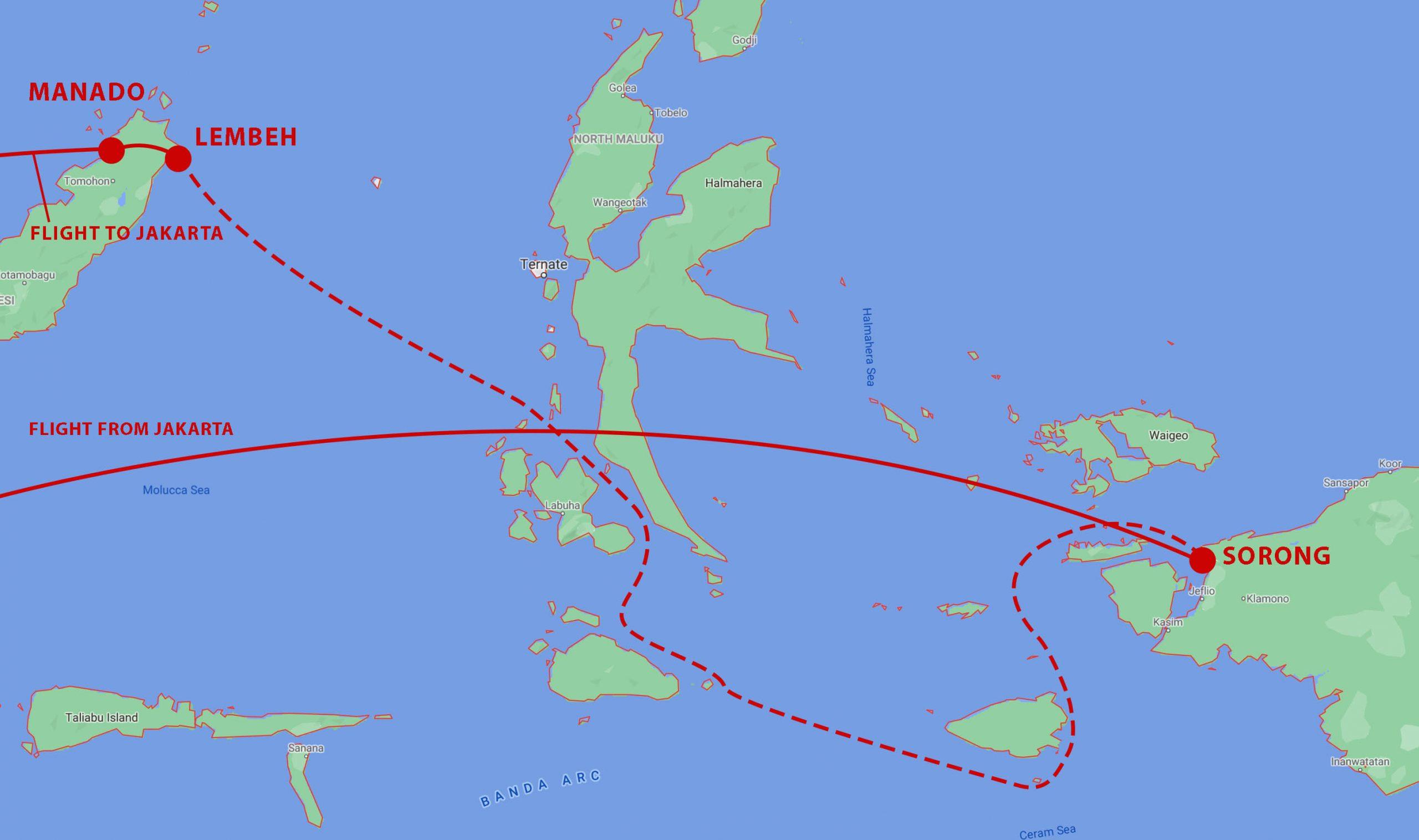 Raja Ampat Halmahera Itinerary Map